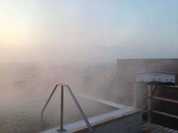 阿蘇プラザホテル露天風呂の朝